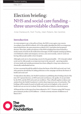 Election briefing: NHS and social care funding – three unavoidable challenges