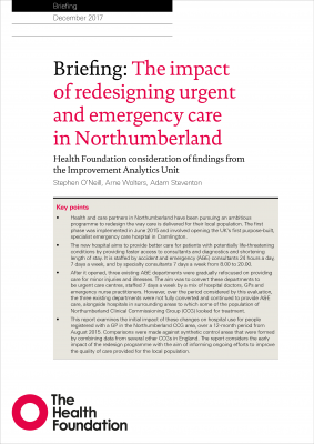 The impact of redesigning urgent and emergency care in Northumberland