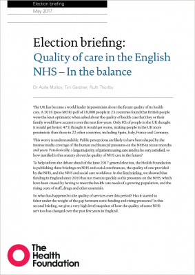 Election briefing: Quality of care in the English NHS