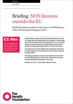 NHS finances outside the EU