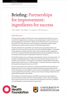 Partnerships for improvement: ingredients for success