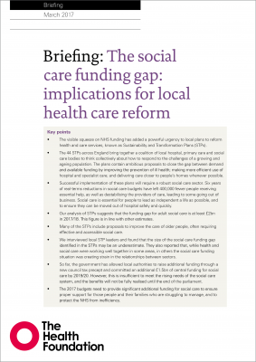 The social care funding gap: implications for local health care reform